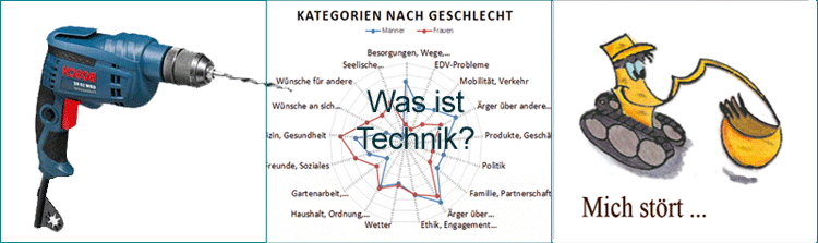 Borhmaschine, Gender Kategorien, Bagger - Übersicht Gender & Technik